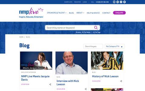 Screenshot of Blog nmplive.co.uk - NMP Live Blog | Speaker Bureau & Booking Agency - captured Oct. 12, 2018