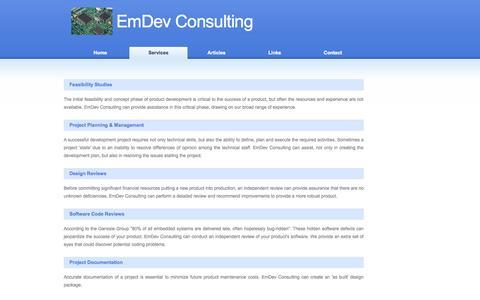 Screenshot of Services Page emdevconsulting.com - EmDev Consulting - captured Sept. 29, 2014