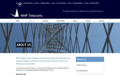 Screenshot of About Page whptelecoms.com - Telecommunications Infrastructure | WHP - captured Dec. 20, 2016