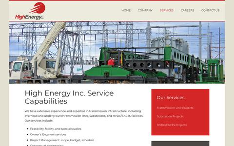 Screenshot of Services Page highenergyinc.com - High Energy Inc. - Services - captured July 19, 2018