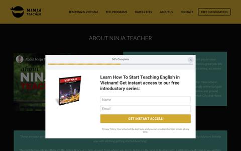 Screenshot of About Page ninjateacher.com - Start Here • Teach English Abroad - NinjaTeacher.com - captured Oct. 19, 2018