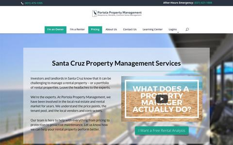Screenshot of Pricing Page portolarentals.com - Santa Cruz Property Management Services and Fees - captured Sept. 28, 2018
