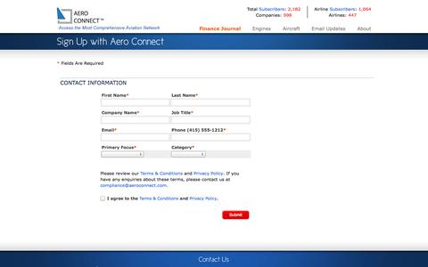 Screenshot of Signup Page aeroconnect.com - Aero Connect - captured Sept. 30, 2014