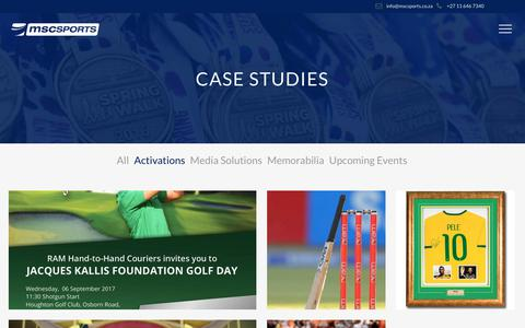 Screenshot of Case Studies Page mscsports.co.za - Case Studies - MSCSPORTS - captured Oct. 4, 2017