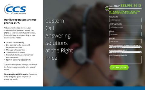 Screenshot of Landing Page yourccsteam.com - Phone Call Answering Services | Customer Contact Services in Eden Prairie, MN - captured Oct. 27, 2014