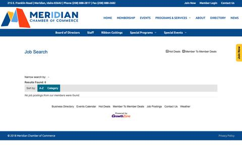 Screenshot of Jobs Page meridianchamber.org - Job Search - – Meridian Chamber of Commerce - captured Oct. 17, 2018
