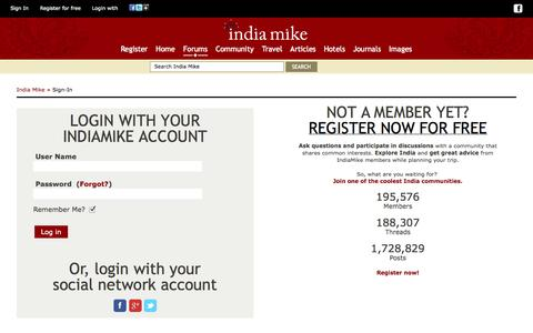 Screenshot of Login Page indiamike.com - India Travel Forum | IndiaMike.com - captured Oct. 29, 2014