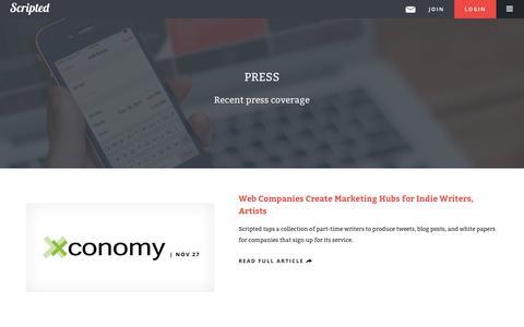 Screenshot of Press Page scripted.com - Press | Scripted - captured Dec. 17, 2014
