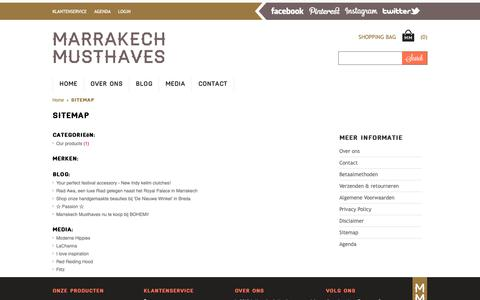 Screenshot of Site Map Page marrakechmusthaves.nl - Sitemap - Marrakech Musthaves - captured Nov. 6, 2018