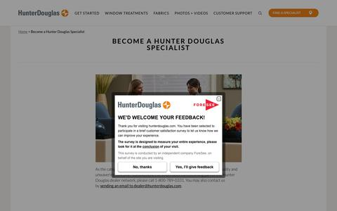 Become a Hunter Douglas Specialist