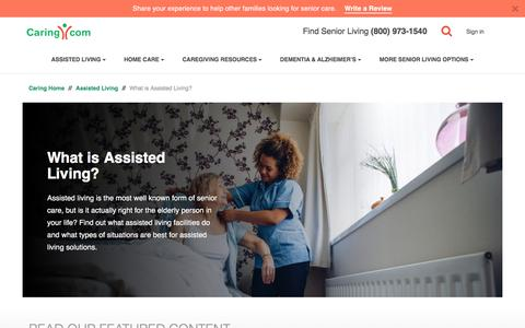 Screenshot of caring.com - What is Assisted Living? | Caring.com - captured Dec. 26, 2017