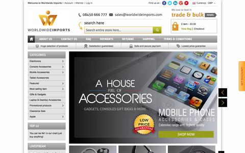 Screenshot of Home Page About Page Privacy Page Contact Page FAQ Page Site Map Page Support Page Login Page Terms Page worldwideimports.com - Worldwide Imports - captured Oct. 6, 2014