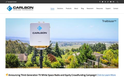 Screenshot of Home Page carlsonwireless.com - Carlson Wireless Technologies – Leaders in TV White Space - captured July 15, 2015