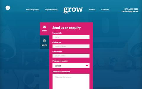 Screenshot of Contact Page grow.ae - Contact Grow - Call Us - Our Location - captured Feb. 2, 2016
