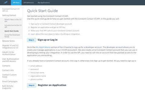 Screenshot of Developers Page constantcontact.com - Quick Start Guide | Constant Contact Developer Portal - captured June 18, 2019
