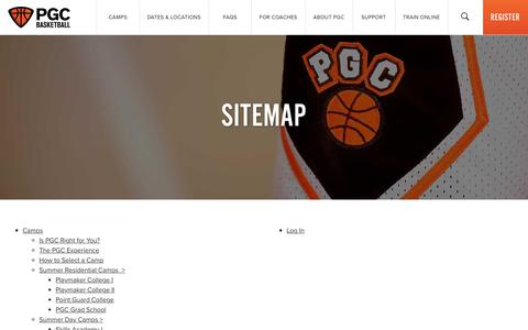 Screenshot of Site Map Page pgcbasketball.com - Site Map - PGC Basketball - captured March 3, 2018