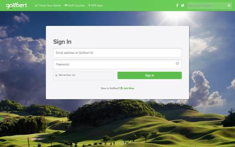 Screenshot of Login Page golfbert.com - Users - captured July 16, 2016