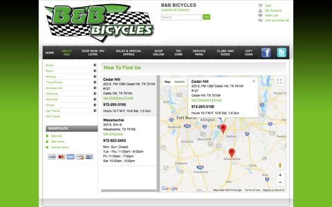Screenshot of Contact Page Maps & Directions Page bbbicycles.com - Locations - B&B Bicycles Cedar Hill TX 972-293-3100 Dallas Area's Finest Bicycles Store - captured July 15, 2018