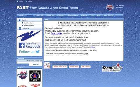 Screenshot of Signup Page teamunify.com - Fort Collins Area Swim Team : Join - captured Nov. 25, 2016
