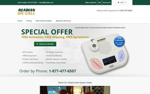 Screenshot of Products Page acadianoncall.com - Medical Alert Systems | Medical Alarms | Acadian On Call - captured Oct. 29, 2014