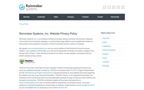 Screenshot of Privacy Page rainmakersystems.com - Rainmaker Systems, Inc. | B2B Products and Solutions to Increase Your Global Revenue - captured Oct. 27, 2014