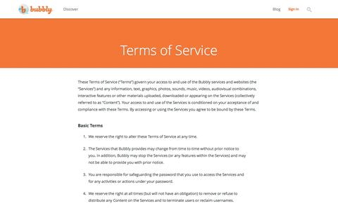 Screenshot of Terms Page bubbly.net - Bubbly - Terms - captured July 3, 2016