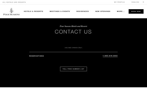 Screenshot of Contact Page fourseasons.com - Four Seasons Hotels and Resorts | Luxury Hotels | Four Seasons | Contact Us - captured July 12, 2018