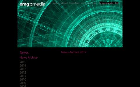 Screenshot of Press Page dmgmedia.co.uk - News Archive | News | dmg media - captured May 9, 2017