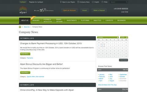 Screenshot of Press Page alpari.com - Company News - captured Oct. 6, 2015
