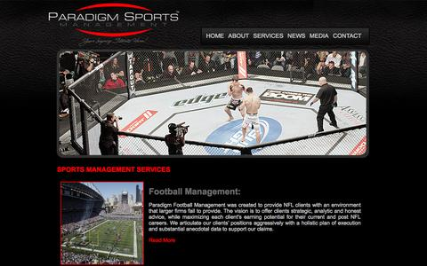 Screenshot of Services Page paradigmsm.com - Paradigm Sports Management - captured Oct. 1, 2014