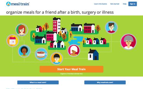 Screenshot of Home Page mealtrain.com - Meal Train | Meal Calendar for New Parents, Surgery, Illness, and More - captured June 18, 2015