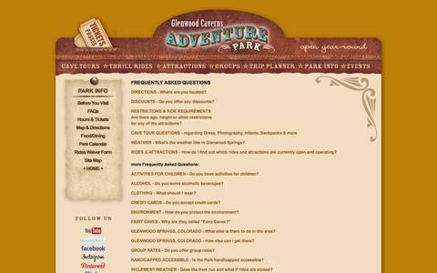 Screenshot of FAQ Page glenwoodcaverns.com - Glenwood Springs Colorado - Glenwood Caverns Adventure Park Frequently Asked Questions for - captured Oct. 2, 2014