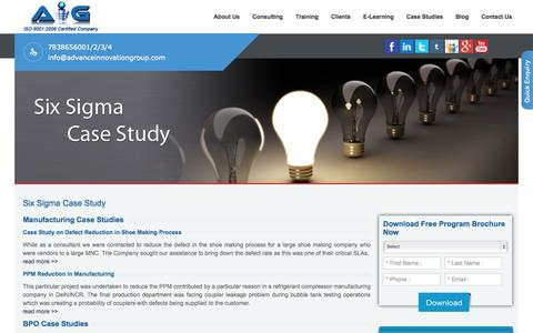 Screenshot of Case Studies Page advanceinnovationgroup.com - Six Sigma case studies in Delhi,Gurgaon,Noida-India - captured Oct. 29, 2014