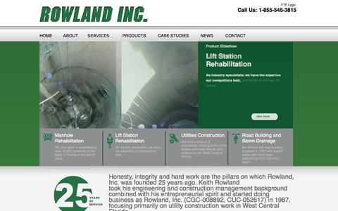 Screenshot of Home Page rowland-inc.com - Rowland-Inc |  Manhole and Lift Station Rehabilitation - captured Oct. 6, 2014