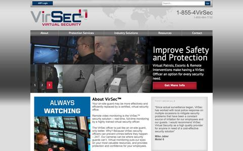Screenshot of Home Page virsecservices.com - Virtual Security and Remote Video Monitoring | Virsec Services - captured Oct. 20, 2018