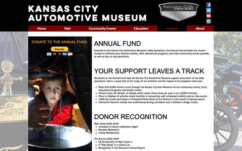 Screenshot of Support Page kansascityautomuseum.com - KC Auto Museum | Support - captured Oct. 15, 2018