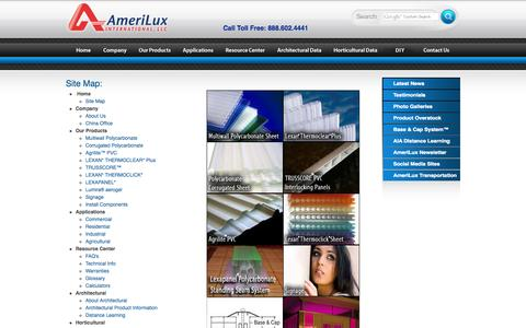 Screenshot of Site Map Page ameriluxinternational.com - AmeriLux Site Map - captured Oct. 4, 2014