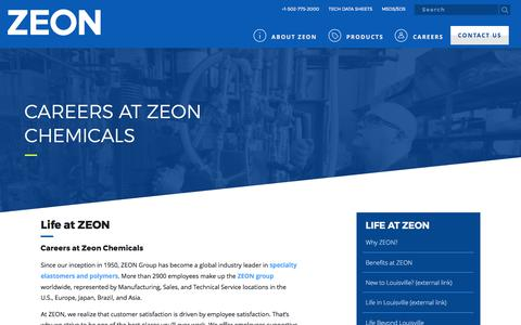 Screenshot of Jobs Page zeonchemicals.com - Careers at Zeon Chemicals   Experience life at ZEON - captured Sept. 20, 2018
