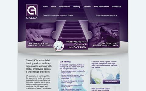 Screenshot of Home Page calexuk.com - Calex UK | Calex UK Ltd., Calex UK: Partnership, Innovation, Quality. - captured Sept. 26, 2014
