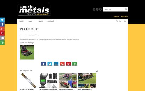 Screenshot of Products Page sportsmetals.com - Sports Metals   Turf Management and Greenkeeping Equipment   Brushes   Bedknives   Tines   Products   Online shop   Sports Metals - captured Oct. 20, 2018