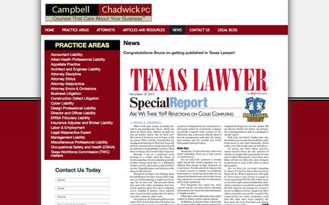 Screenshot of Press Page campbellchadwick.com - Events Calendar   Dallas Liability Lawyers   Campbell & Chadwick, P.C - captured Oct. 1, 2014