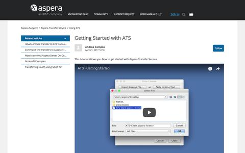 Screenshot of Support Page asperasoft.com - Getting Started with ATS – Aspera Support - captured Feb. 9, 2018