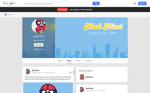 Screenshot of Google Plus Page google.com - Mad Mimi - Google+ - captured Oct. 22, 2014