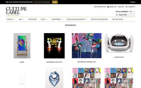 Screenshot of Products Page culturelabel.com - Collections – CultureLabel - captured July 18, 2016