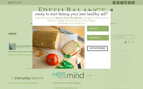 Screenshot of Press Page freshbalancenutrition.com - Fresh Balance Nutrition and Jennifer Cohen Katz in the press - captured July 5, 2018