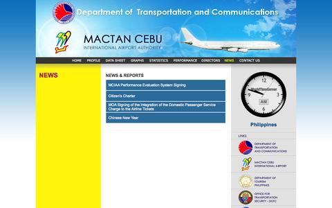 Screenshot of Press Page mciaa.gov.ph - NEWS - captured Oct. 4, 2014