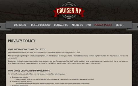 Screenshot of Privacy Page cruiserrv.com - Privacy Policy   Cruiser RV - captured May 22, 2017
