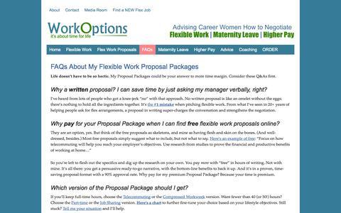 Screenshot of FAQ Page workoptions.com - FAQs Flexible Work Proposal Packages - captured Sept. 19, 2014