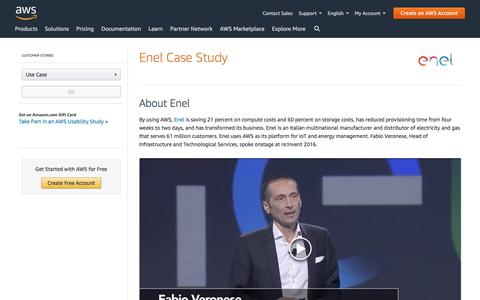 Screenshot of Case Studies Page amazon.com - ENEL Case Study - Amazon Web Services (AWS) - captured June 27, 2019