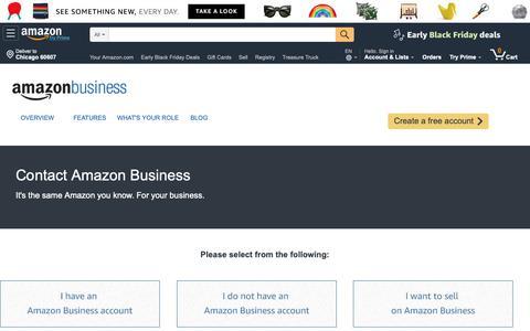 Screenshot of Contact Page amazon.com - Contact Us - Amazon Business @ Amazon.com - captured Nov. 2, 2018